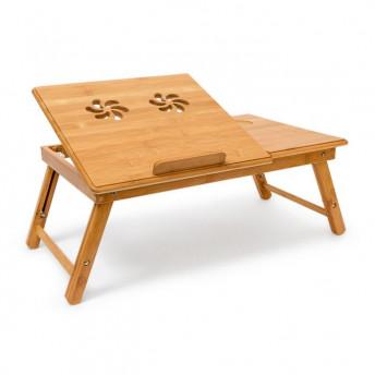 Masuta pentru Laptop, din Bambus, Ajustabila, cu Sertar