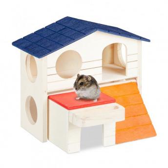 Casuta pentru Hamsteri, doua niveluri, 15x17x16.5 cm