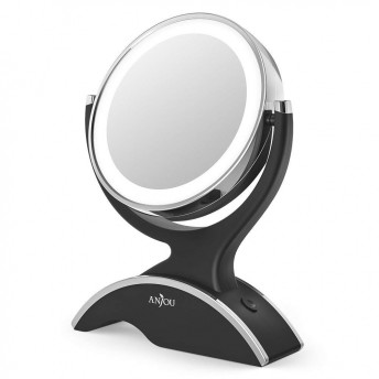 Oglinda cosmetica Anjou iluminata LED, 2 fete, Marire 7X