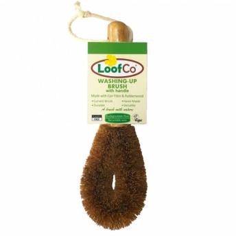 Perie cu maner, din fibre de cocos, pentru spalat vasele, LoofCo