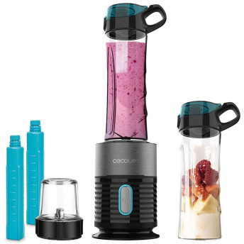 Blender Smoothie 2in1 Cecotec Power Titanium 650 Fresh&Go Inox, 650W, 2 recipiente portabile, 1 recipient rasnita