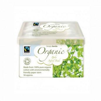 Betisoare organice pentru urechi, cu opritor, pentru bebelusi, 56 buc