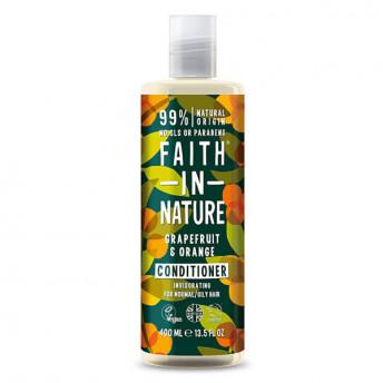 Balsam natural revigorant cu Grapefruit si Portocale, pentru par normal sau gras, Faith in Nature, 400 ml