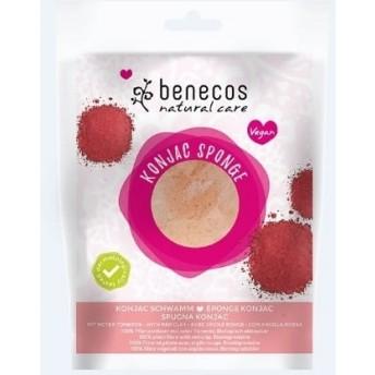 Burete Konjac cu argila rosie pentru ten sensibil - Benecos