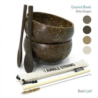 Set 2 Boluri din Nuca de Cocos + accesorii - model Leaf