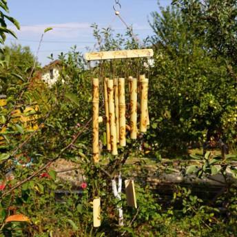 Clopotei de vant din lemn de bambus cu 10 tuburi - 65cm, model 2