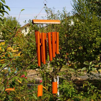 Clopotei de vant din lemn de bambus cu 10 tuburi - 65cm, model 5