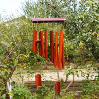 Clopotei de vant din lemn de bambus cu 12 tuburi - 55cm, model 10