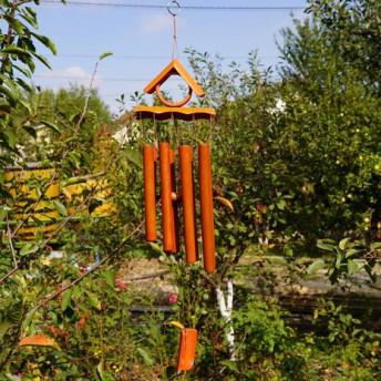 Clopotei de vant din lemn de bambus cu 8 tuburi - 65cm, model 6