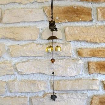 Clopotei de vant din metal cu 3 ramuri, Bufnita pe creanga - 50cm
