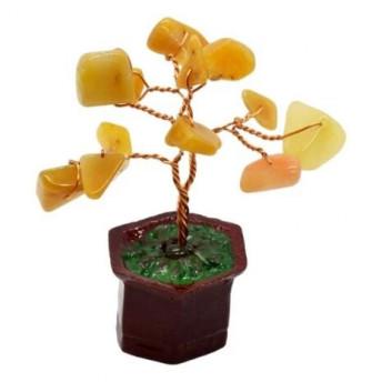 Copac in ghiveci cu pietre de calcit galben - 8cm