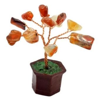 Copac in ghiveci cu pietre de carneol - 8cm