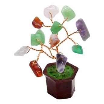 Copac in ghiveci cu pietre semipretioase mix - 8cm