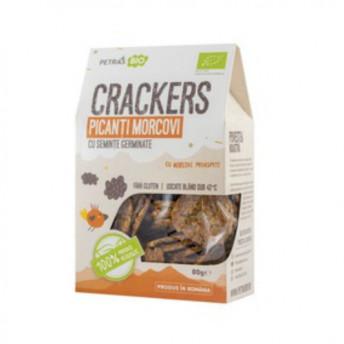 Crackers eco picanti cu morcovi si seminte germinate, Petras Bio, 80 gr
