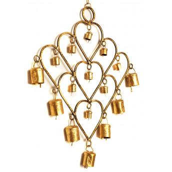 Decoratiune Metalica, 16 Clopotei aurii, 25 x 30 cm