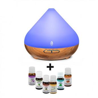 Difuzor aromaterapie cu Ultrasunete TaoTronics TT-AD002, 300ml, Nuc natur + 6 Uleiuri Esentiale Naturale Savonia