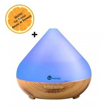 Difuzor aromaterapie cu Ultrasunete TaoTronics TT-AD002, 300ml, 13W, LED 7 culori, Nuc natur + Ulei Esential Natural de Portocala