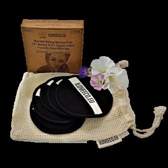 Set 5 Dischete Demachiante Negre + Saculet Bumbac pentru Spalare