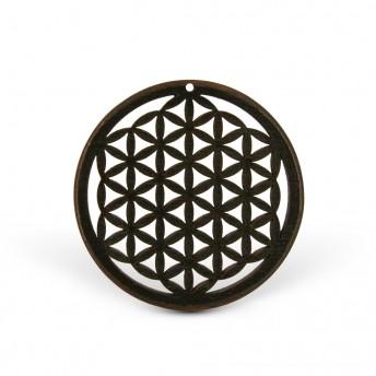 Amuleta din lemn - The Flower of Life, Negru