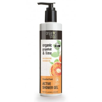 Gel de dus bio cu lime si grapefruit, Grapefruit Punch, 280 ml - Organic Shop