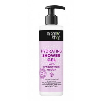 Gel de dus hidratant cu efect antibacterian, lavanda si acid lactic, 280ml - Organic Shop