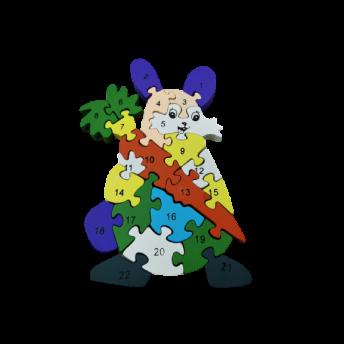 Puzzle din Lemn, Model Iepuras, 6 ani +, numere si litere