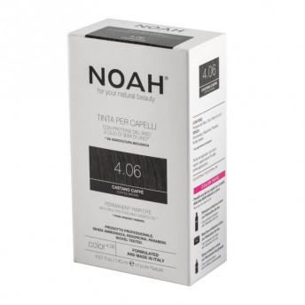 Vopsea de par naturala fara amoniac, Saten cafeniu,4.06, Noah, 140 ml