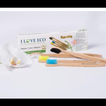 """Set """"Family Pack (medium)"""" (4 bucati) - periute de dinti ecologice, din bambus, pentru intreaga familie"""