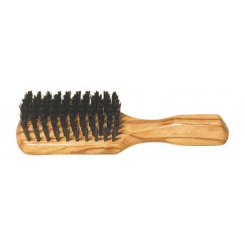Perie pentru barbati (par si barba) lemn maslin, peri porc mistret, 10 randuri