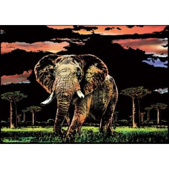 Plansa de razuit A3 - terapie prin Arta - Elefant