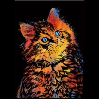 Plansa de razuit A3 - terapie prin Arta - Pisica