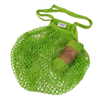 Plasa Ecologica de cumparaturi cu maner lung, verde, bumbac 100% (1 bucata)
