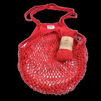 Plasa Ecologica de cumparaturi cu maner lung, rosu, bumbac 100% (1 bucata)
