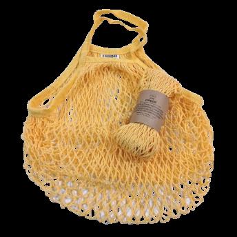 Plasa Ecologica de cumparaturi cu maner scurt, galben, bumbac 100% (1 bucata)