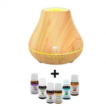 Difuzor aromaterapie cu Ultrasunete TaoTronics TT-AD004, 400ml + 6 Uleiuri Esentiale Naturale Savonia