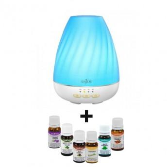 Difuzor aromaterapie cu Ultrasunete Anjou ADA003, 200ml + 6 Uleiuri Esentiale Naturale Savonia
