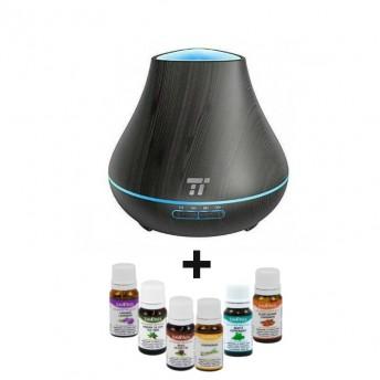 Difuzor aromaterapie TaoTronics TT-AD004, 400ml, 13W, Negru + 6 Uleiuri Esentiale Naturale Savonia
