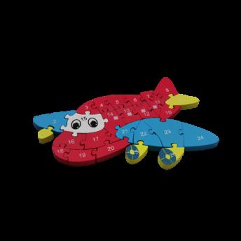 Puzzle din Lemn, Model Avion, 6 ani +, numere si litere