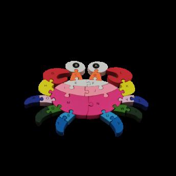 Puzzle din Lemn, Model Crab, 6 ani +, numere si litere