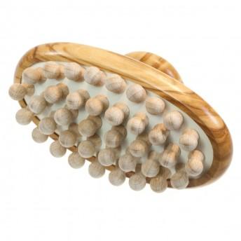 Perie masaj anticelulitic, maner scurt, lemn Maslin