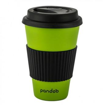 Cana de cafea cu capac, protectie termica din silicon, verde