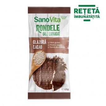 Rondele din orez cu glazura de cacao, 66 g
