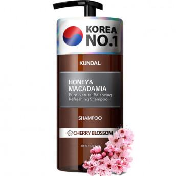 Sampon hipoalergenic natural si extra-hidratant, cu miere si macadamia, Cherry Blossom, Kundal, 500 ml