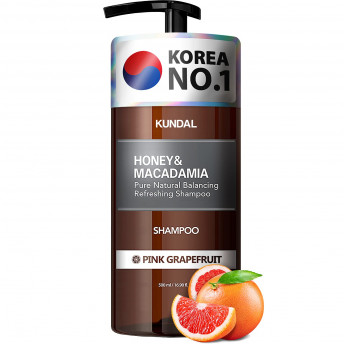 Sampon hipoalergenic natural si extra-hidratant, cu miere si macadamia, Pink Grapefruit, Kundal, 500 ml