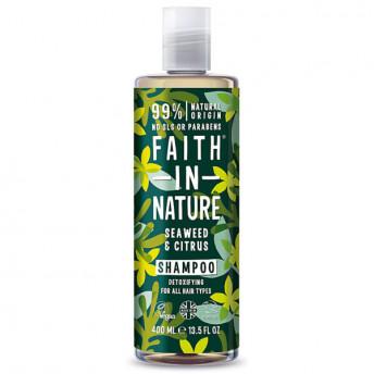 Sampon natural detoxifiant cu Alge Marine si Citrice, pentru toate tipurile de par, Faith in Nature, 400 ml