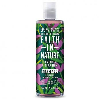 Sampon natural nutritiv cu Lavanda si Muscata pentru par normal si uscat, Faith in Nature, 400 ml