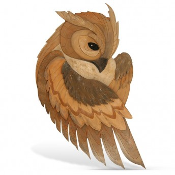 Bufnita - Decoratiune Perete din Lemn - Red Owl Craft, 26 x 47 cm