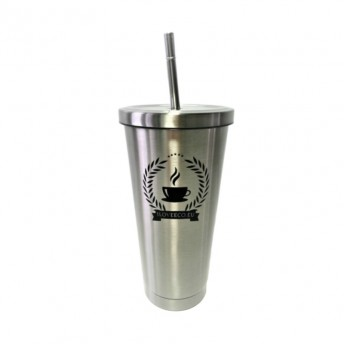 Cana termos pentru bauturi calde sau reci + pai din metal, argintiu