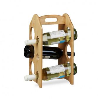 Suport cu maner din Bambus pentru Sticle de Vin, 40 x 20 cm
