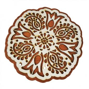 Suport Vase, din Lemn, Rotund, motive Traditionale, 18 cm